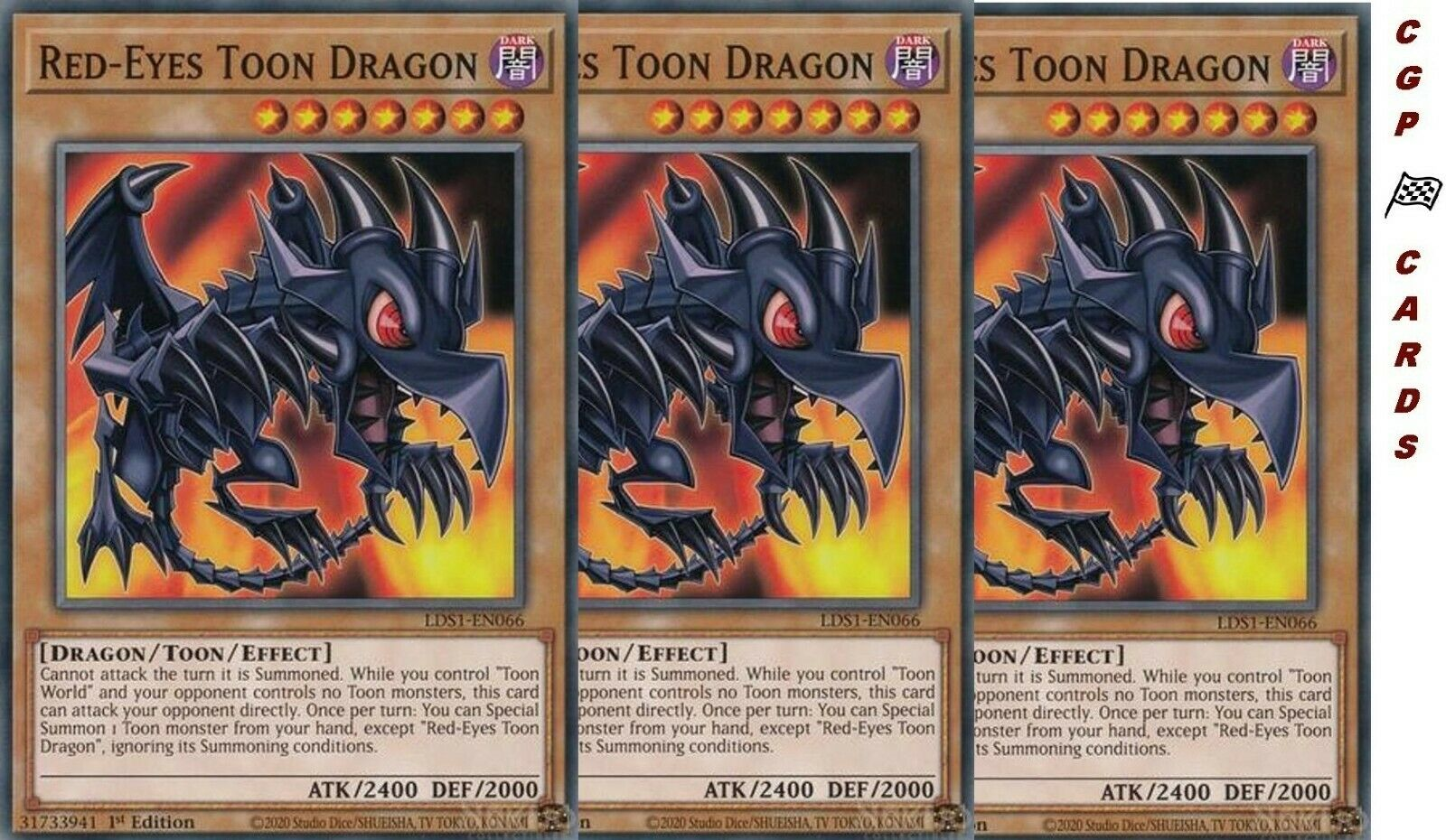 YGO-1x-Near Mint-Red-Eyes Toon Dragon Common LDS1-EN066 1st Edition-Legend