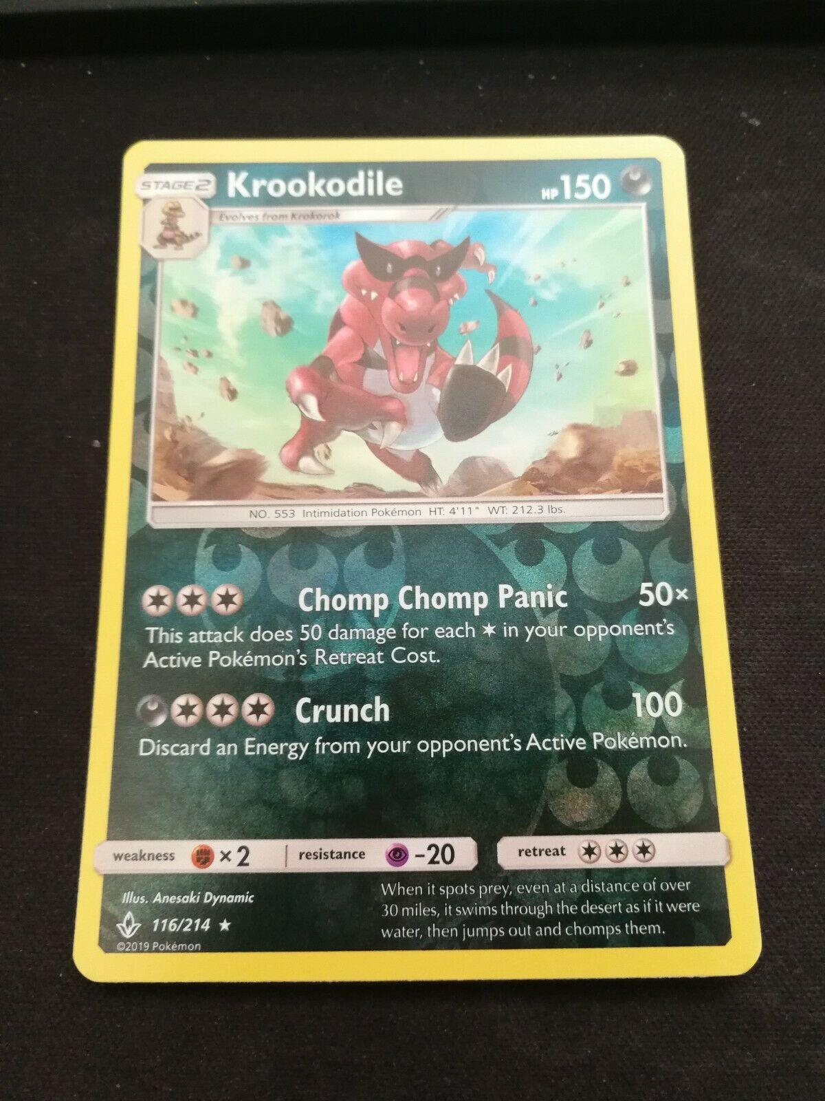 Pokemon Krookodile 116/214 Reverse Holo Rare Unbroken Bonds Near Mint - Image 1