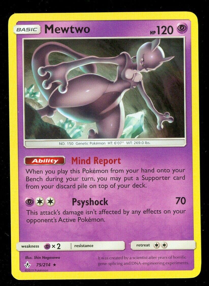 Pokemon MEWTWO 75/214 Unbroken Bonds RARE - - MINT
