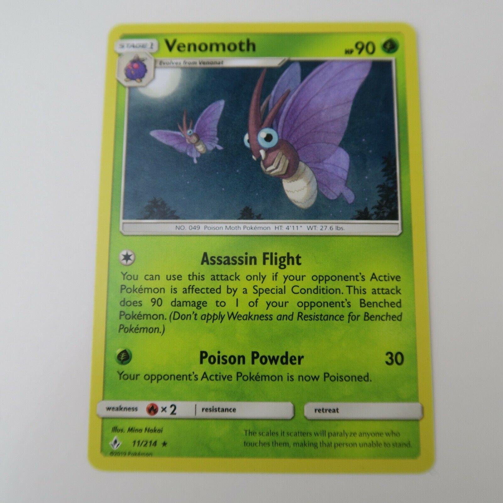 11/214 Venomoth RARE | Pokemon Trading Card Game TCG | UNBROKEN BONDS