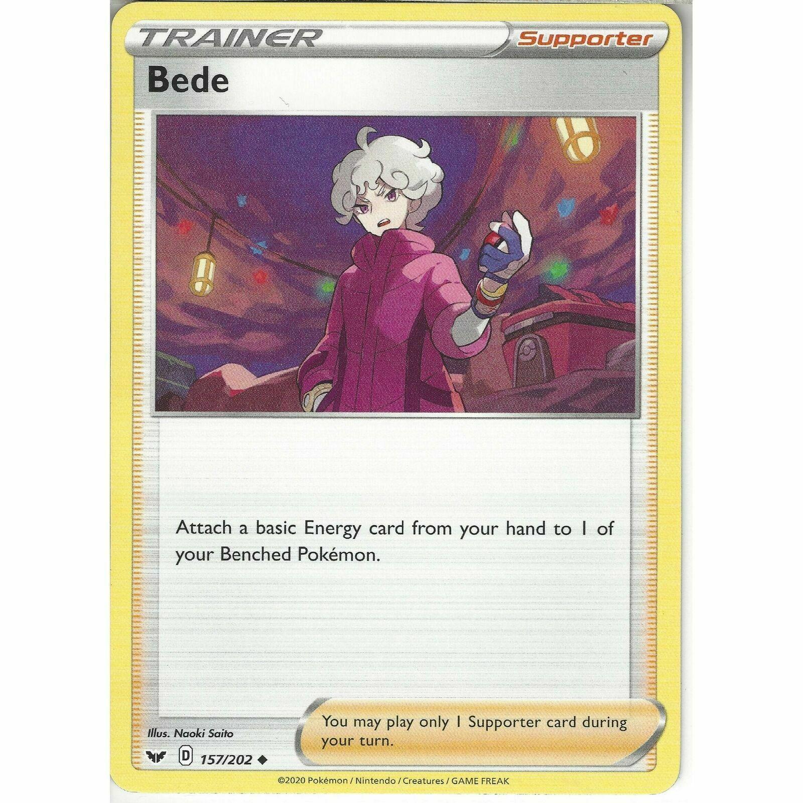 157/202 Bede   Uncommon Card   Uncommon Card   Pokemon Sword & Shield (Base Set) - Image 1