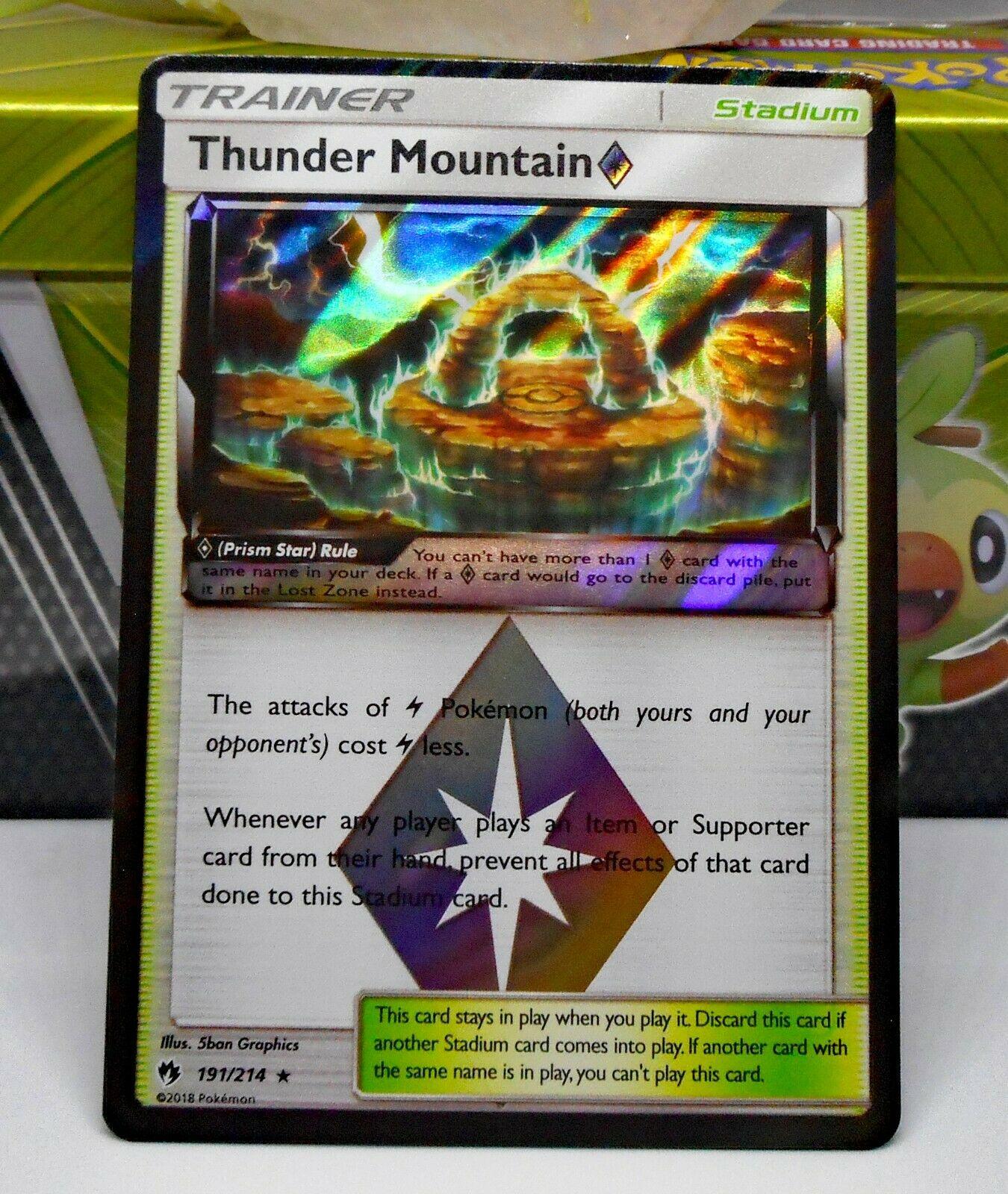 Thunder Mountain 191//214 Lost Thunder Stadium PTCGO Sent Fast Digital Card