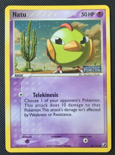 NM Natu 63/115 Reverse HOLO Pokemon Card EX Unseen Forces - Image 1