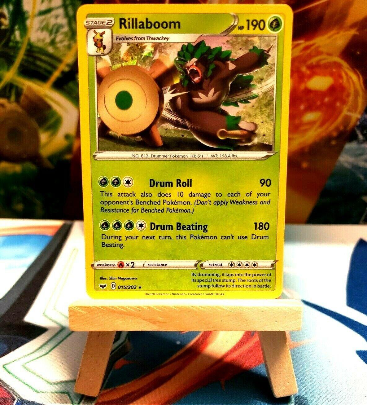 RILLABOOM rare - NM//Mint Sword /& Shield 015//202 Pokemon Card