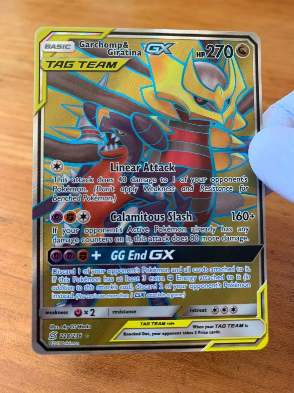 Full Art Ultra Rare Sun 1 x Pokemon Garchomp /& Giratina Tag Team GX 228//236