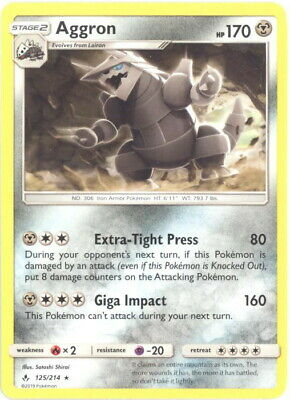 Pokemon Card - Sun & Moon Unbroken Bonds 125/214 - AGGRON (rare) - NM/Mint