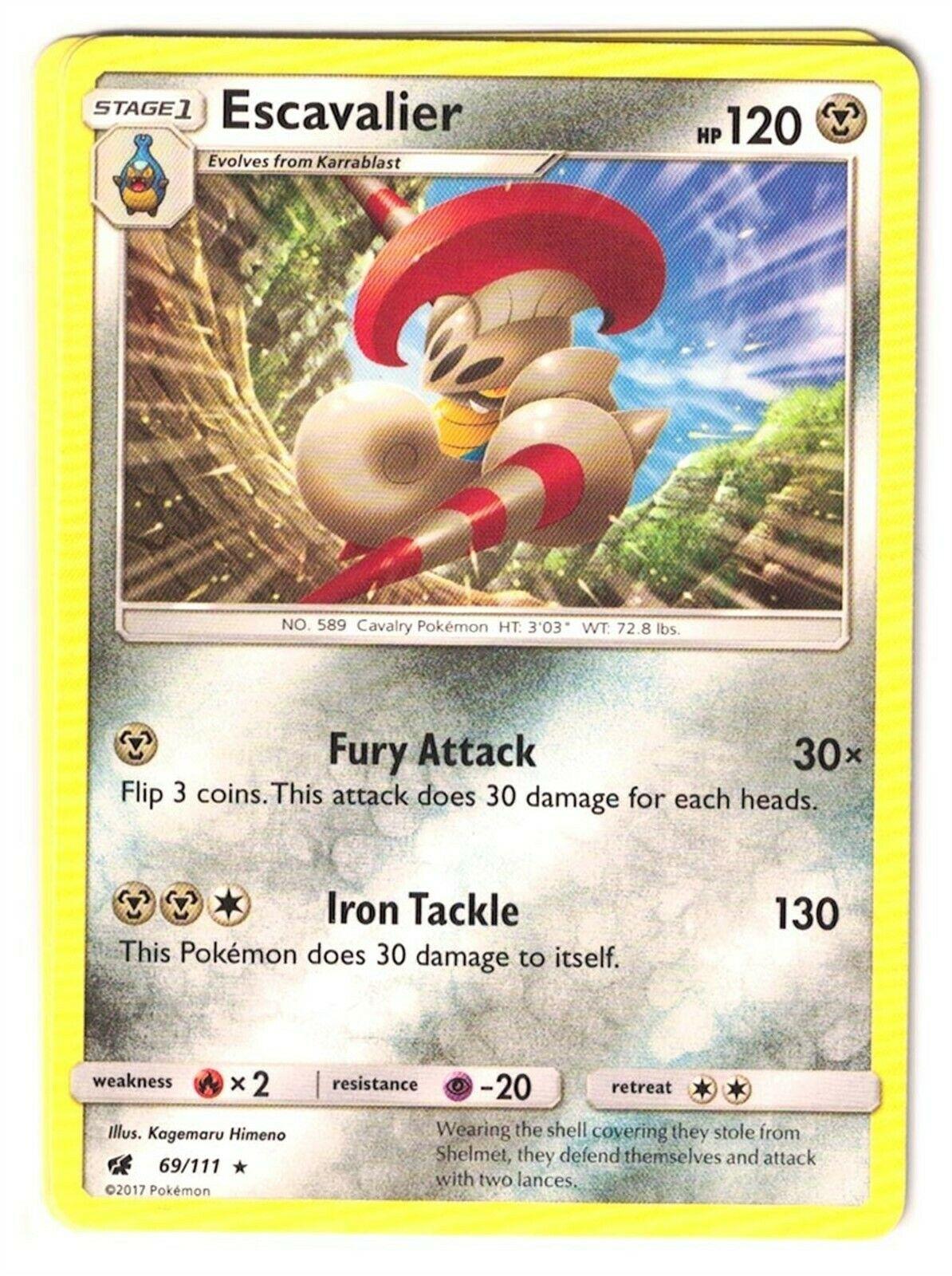 Pokemon TCG Crimson Invasion, Escavalier 69/111 Rare, NM-M