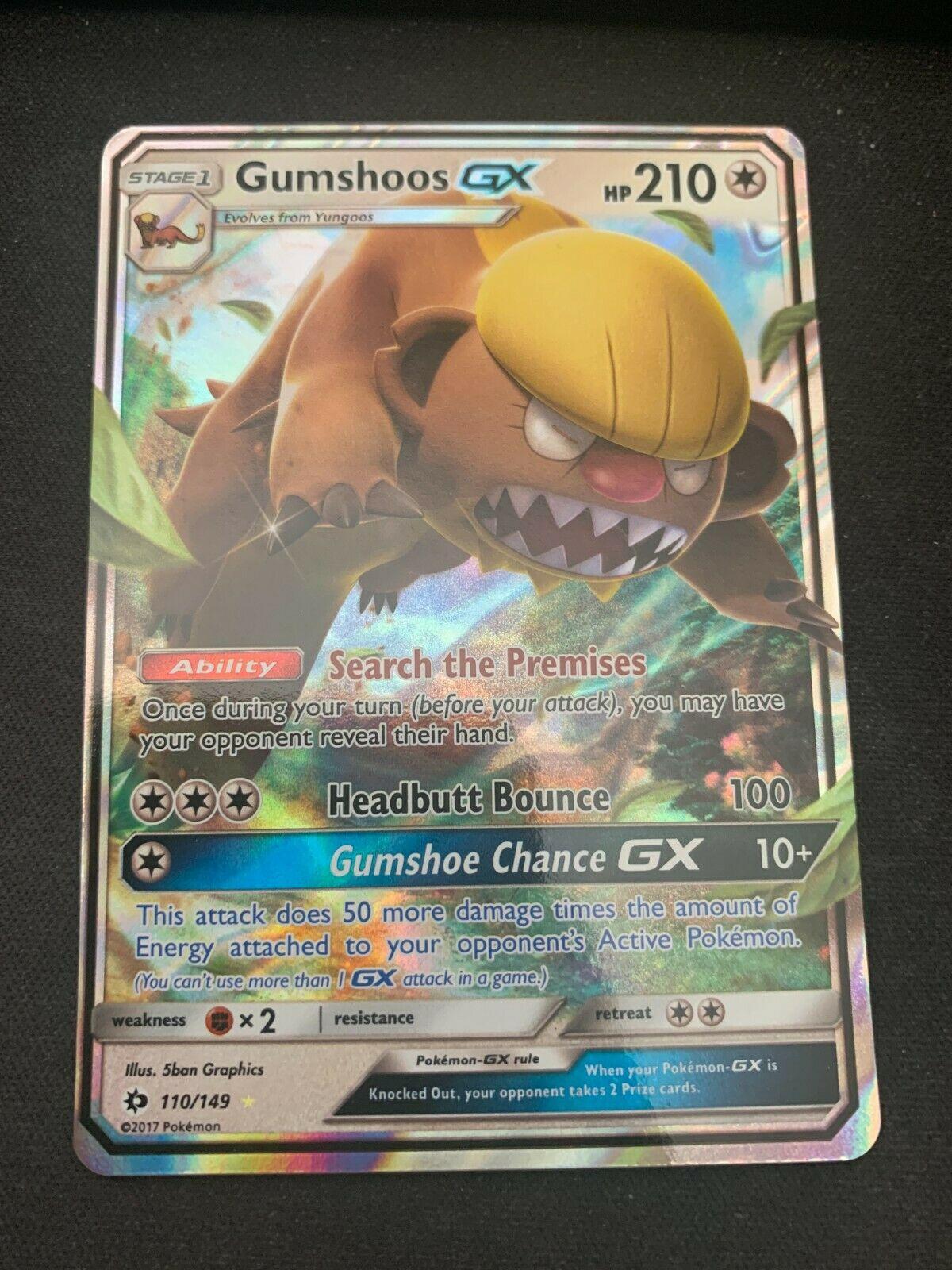1x Gumshoos GX Ultra Rare NM-Mint Pokemon SM01 Sun /& Moon Base Set 110//149