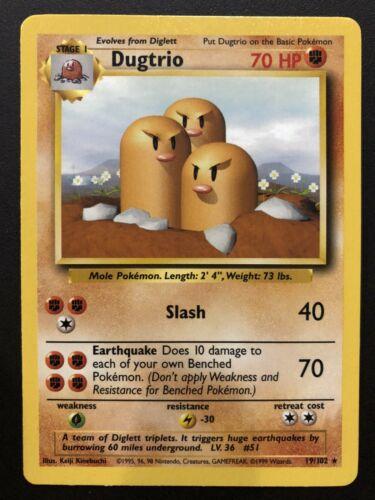 Base Set 1x Dugtrio Unlimited Edition NM-Mint Pokemon G1 19//102 Rare