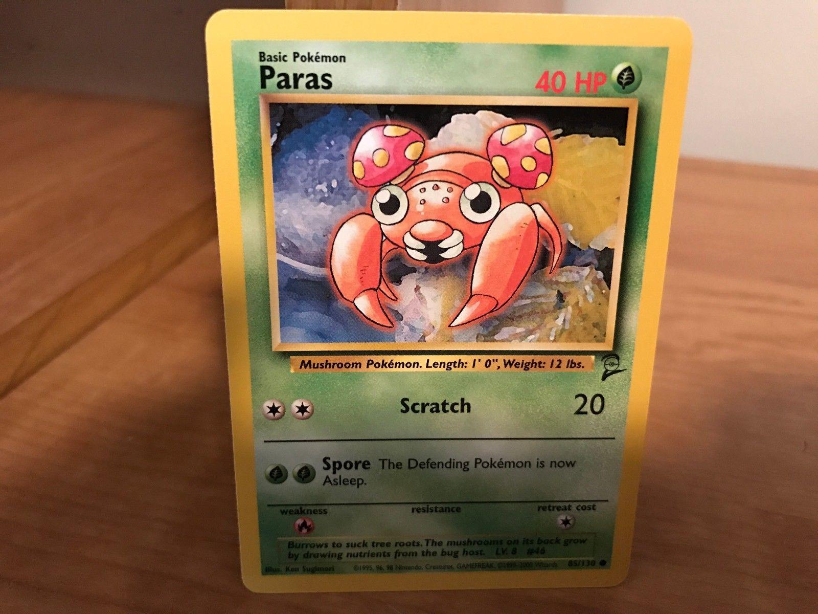 NM+ 2000 Pokemon Cards Paras #85//130 BASE 2 Set