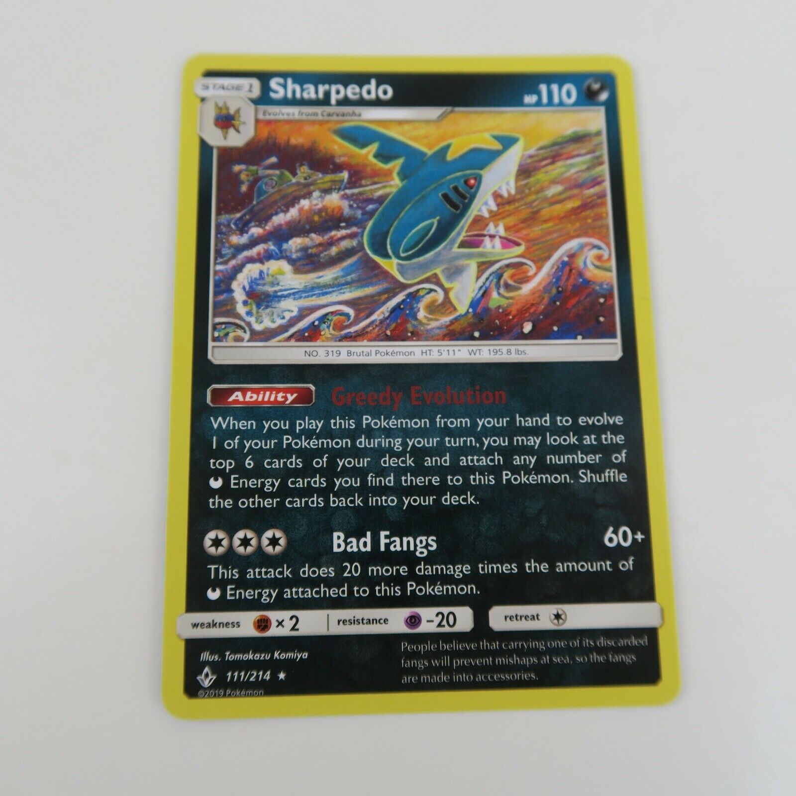 111/214 SHARPEDO Rare | Pokemon Trading Card Game TCG | UNBROKEN BONDS