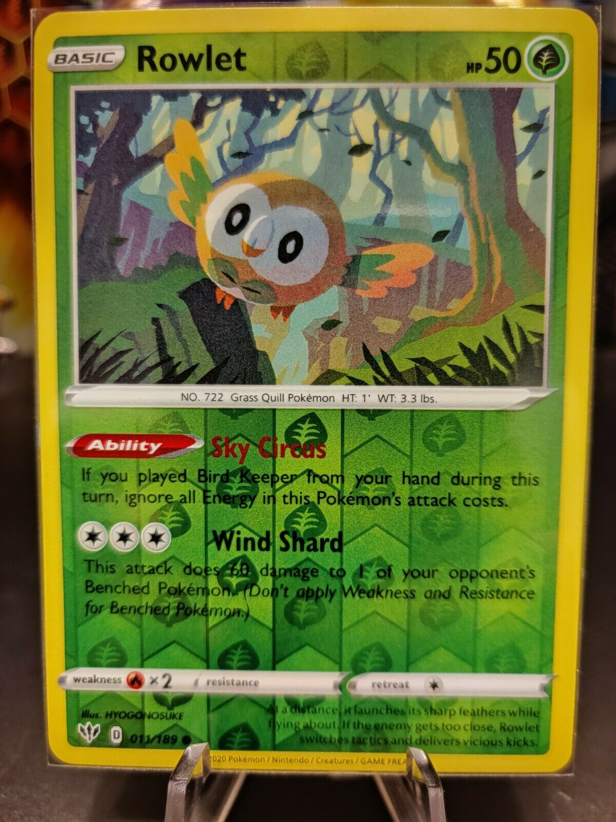 4x Pokemon PTCGO Rowlet 011//189 Online Card Playset Sky Circus Sent Fast In-Game