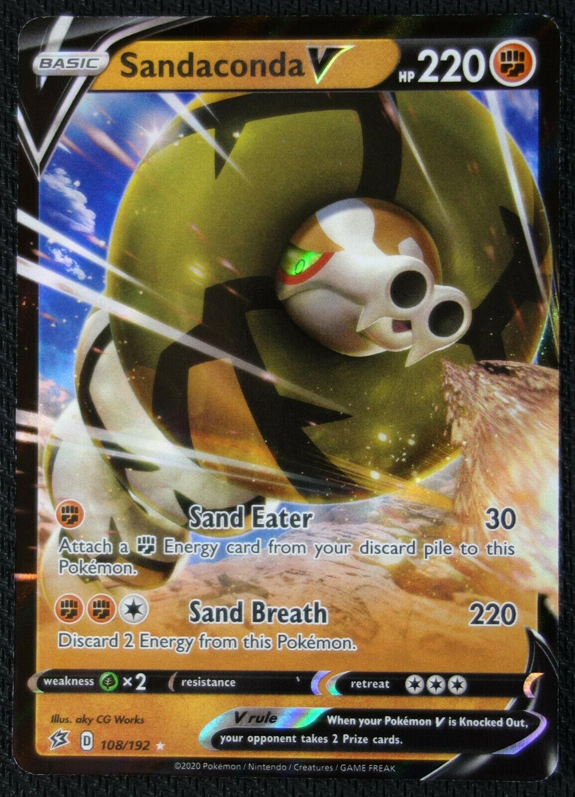 Sandaconda V  108//192 S/&S Rebel Clash  Ultra Rare  Mint//NM Pokemon
