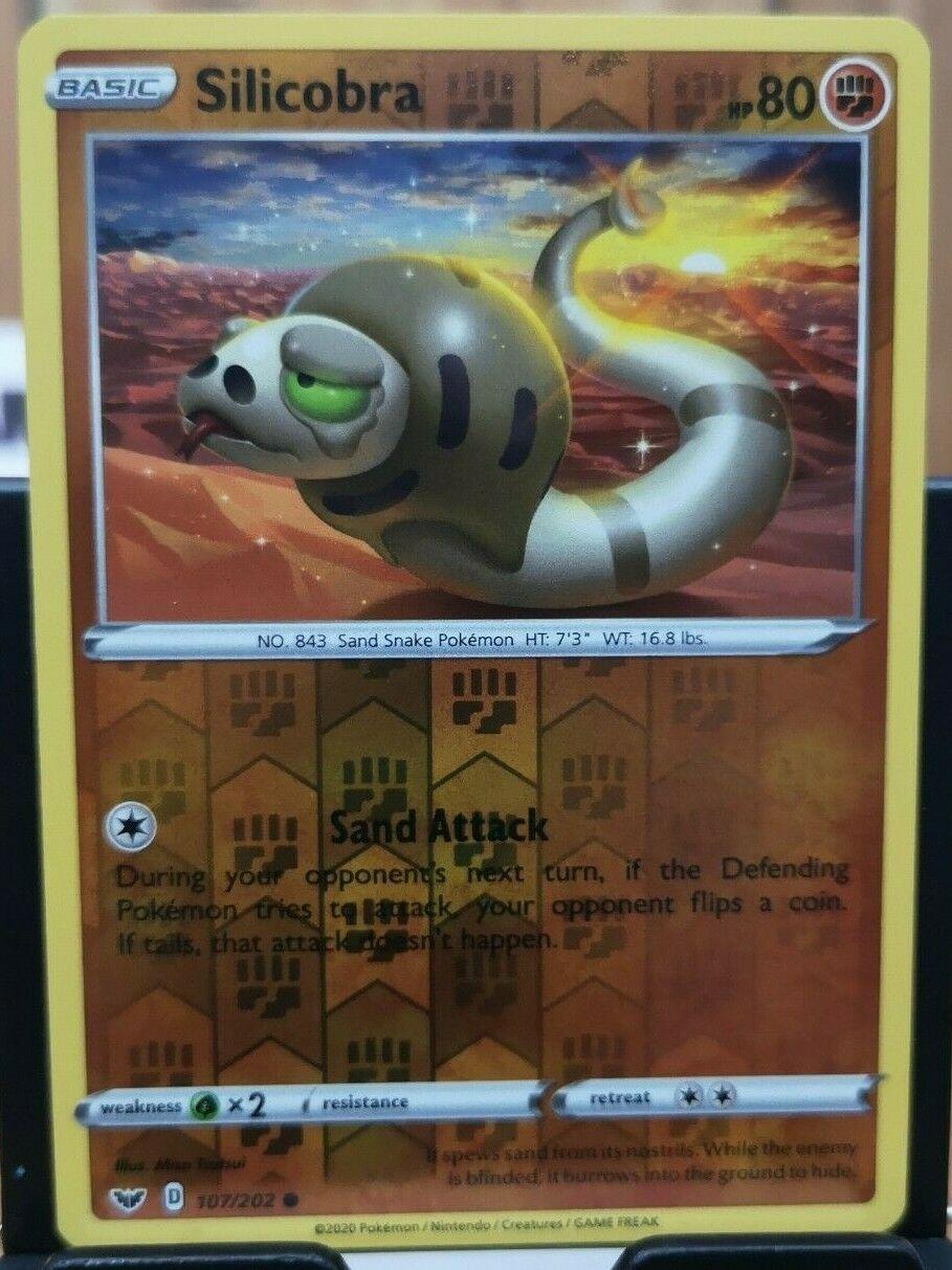 Base  Reverse Holo  Mint//NM Pokemon Silicobra  107//202 Sword /& Shield