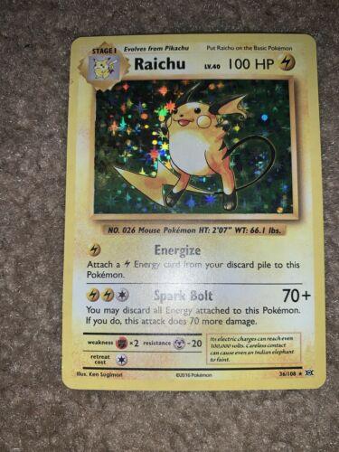 Fast Free Shipping! Raichu 36//108 Holo Rare XY Evolutions
