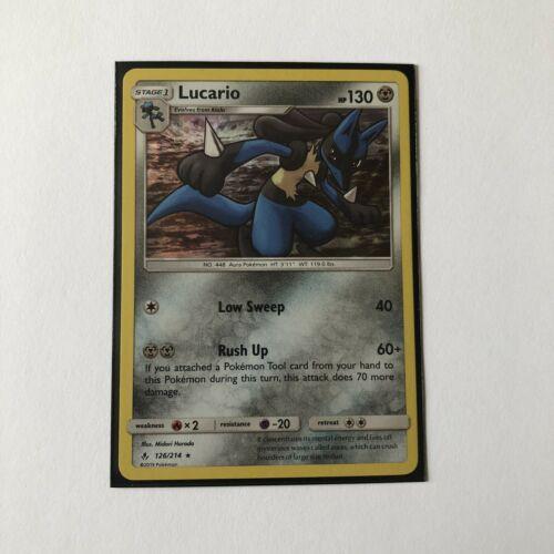 Pokemon TCG Lucario 126/214 Holo Rare SM Unbroken Bonds