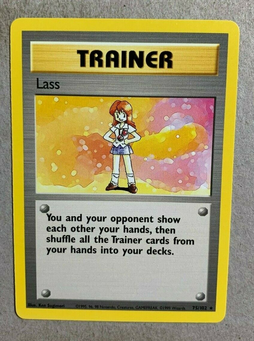 NM Lass 75//102 Base Set Unlimited Pokemon Card WotC