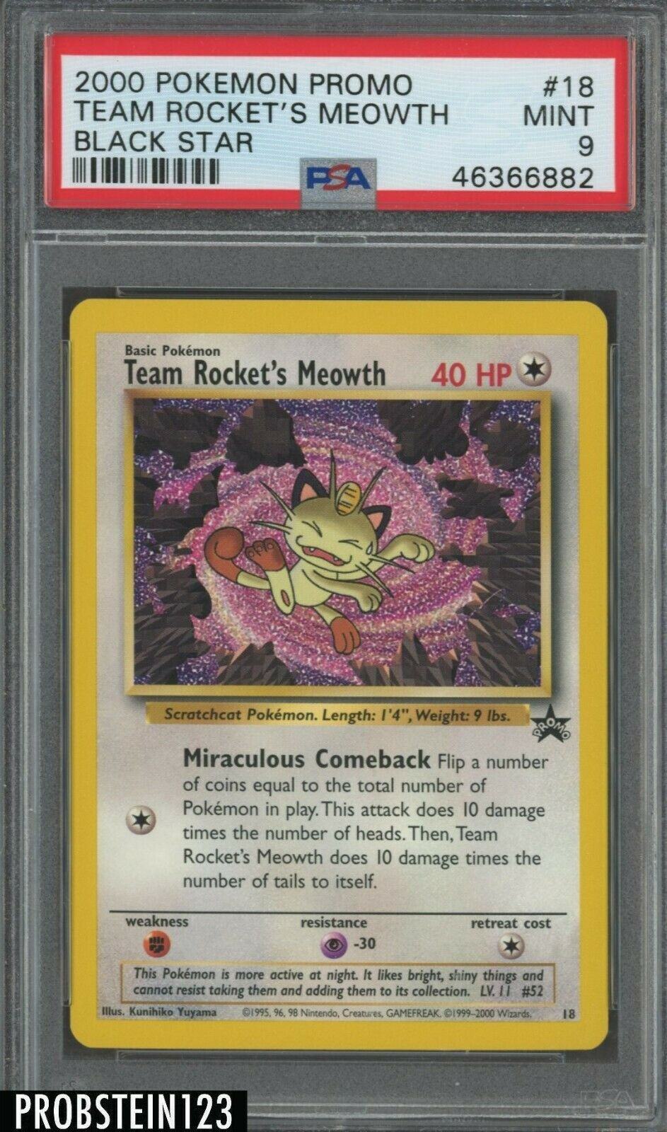 Black Star Promo #18 TEAM ROCKET/'S MEOWTH Excl Cond! Wizards of the Coast