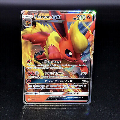 NM Pokemon FLAREON GX Card BLACK STAR PROMO Set SM171 Ultra Rare Elemental Tin