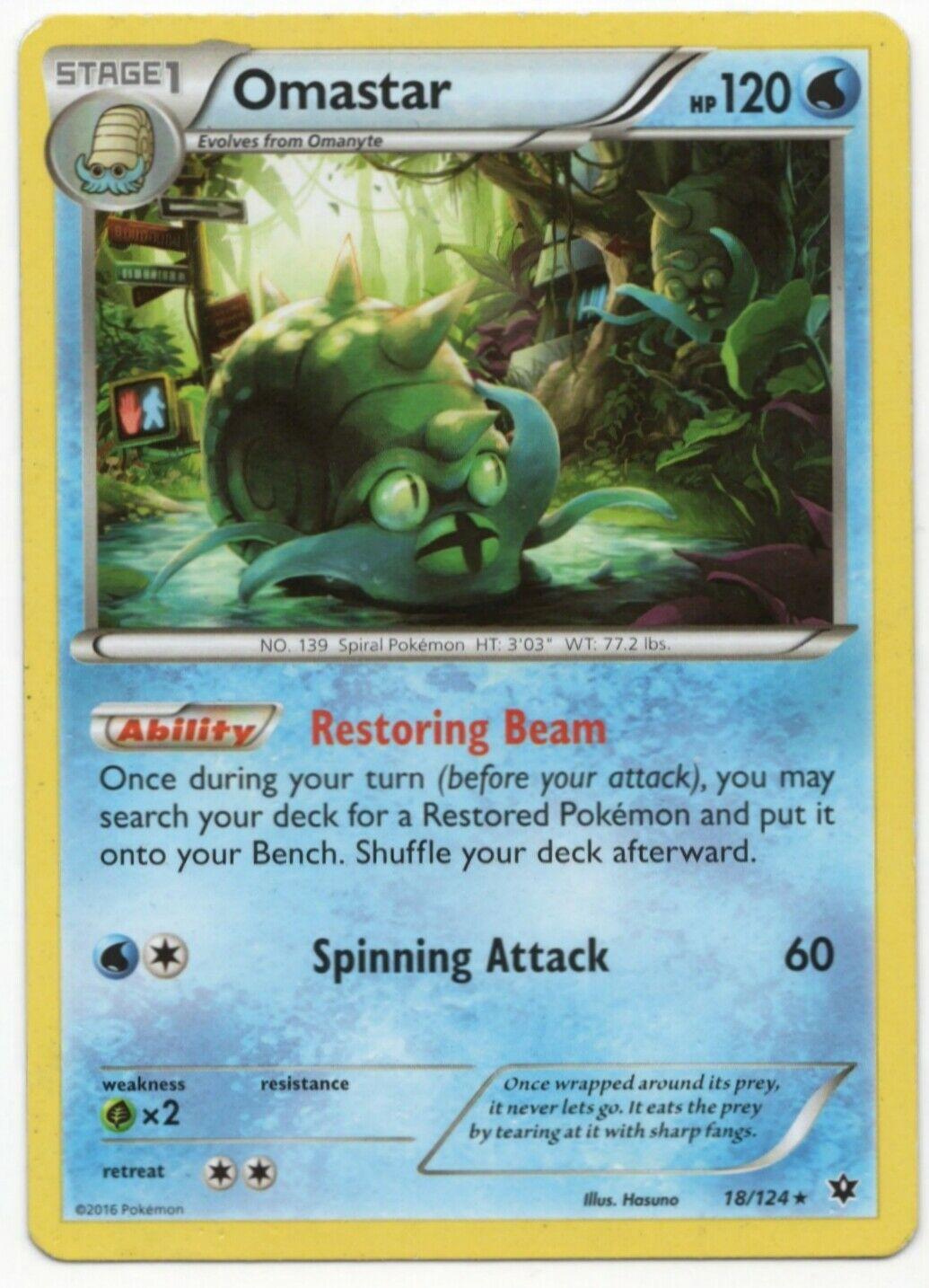 Omastar (18/124) Non Holo XY Fates Collide Pokemon Card