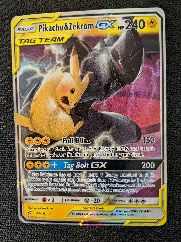 33//181 Pikachu /& Zekrom GX Ultra Rare NM Sun /& Moon Team Up 3Q6