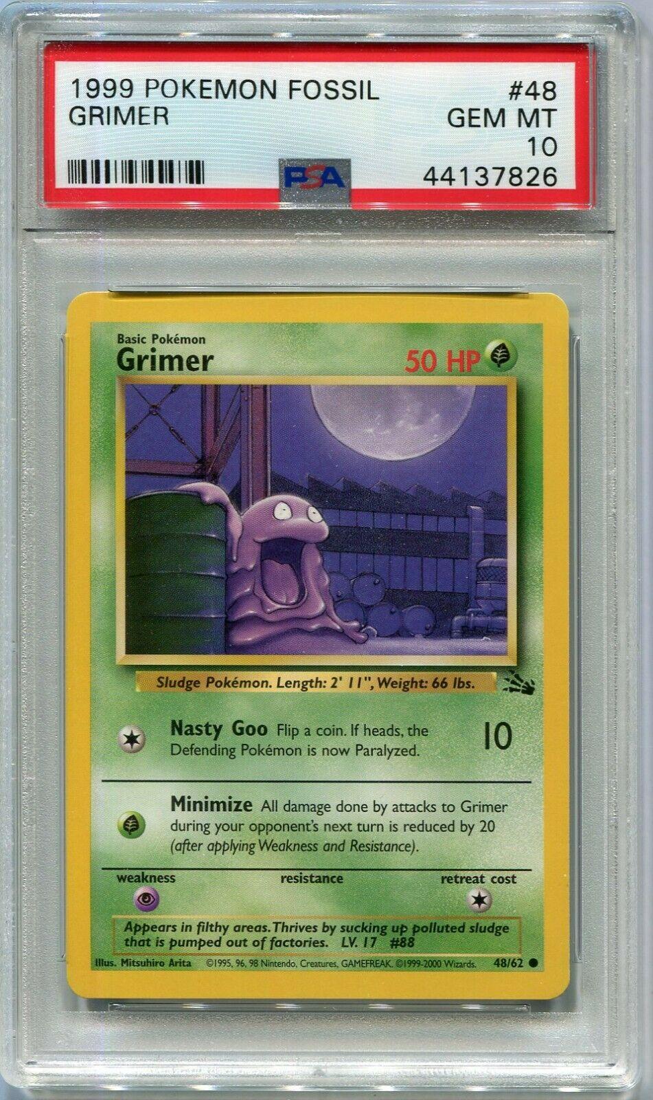 PokemonGrimer 48//62 Pokémon Card Fossil Set NM Uncommon