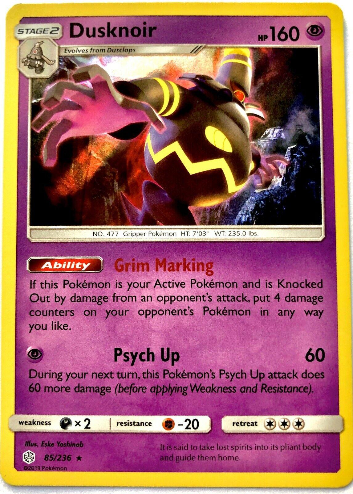 Dusknoir 85/236 Rare Holo, S&M Cosmic Eclipse Pokémon Card - Image 1