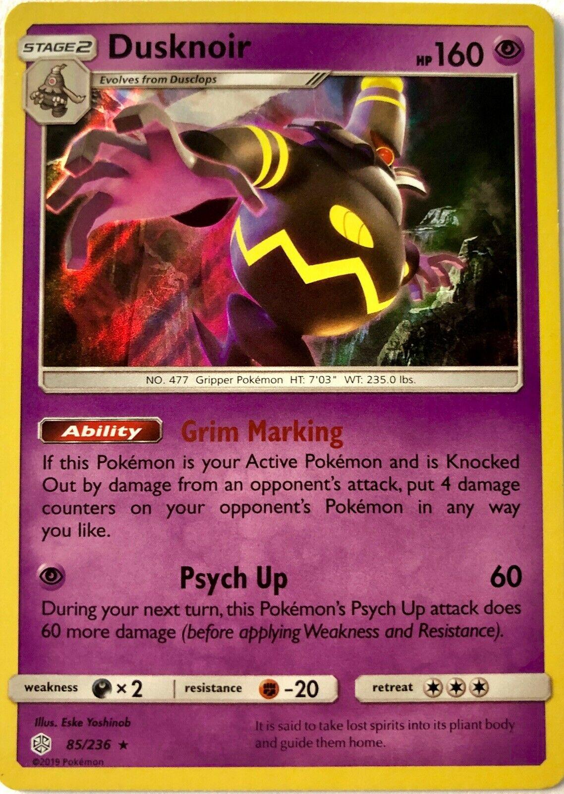 Dusknoir 85/236 Rare Holo, S&M Cosmic Eclipse Pokémon Card - Image 2