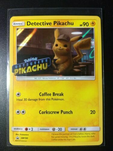 Detective Pikachu Single Holo Movie Promo Cards FREE plastic sleeve with card