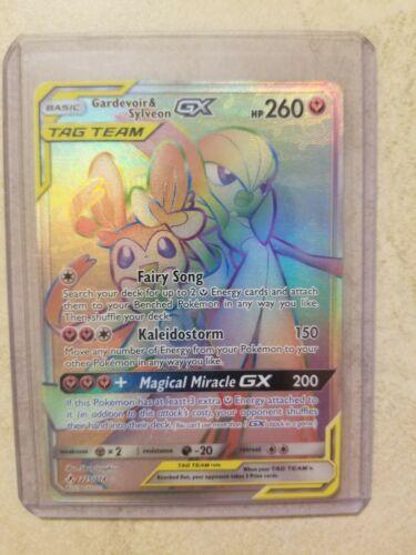 225//214 RARE carte card holo Pokemon GARDEVOIR /& SYLVEON GX HP anglaise replica