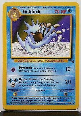 Golduck 1999 Edition 1st Print Fossil Set PL EX 35//62 Uncommon Pokemon Card