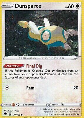 Pokemon Card Darkness Ablaze 137//189 Dunsparce Reverse Holo Common