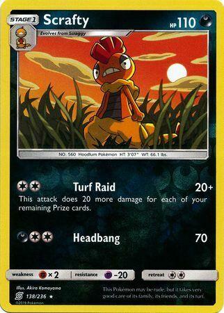 Scrafty 138/236 - Rare Reverse Holo Pokemon Card - Unified Minds Set - NM - Image 1