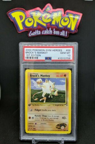 NM Brock's Mankey 1st Edition Gym Heroes Common Pokemon Card Sleeve 68//132