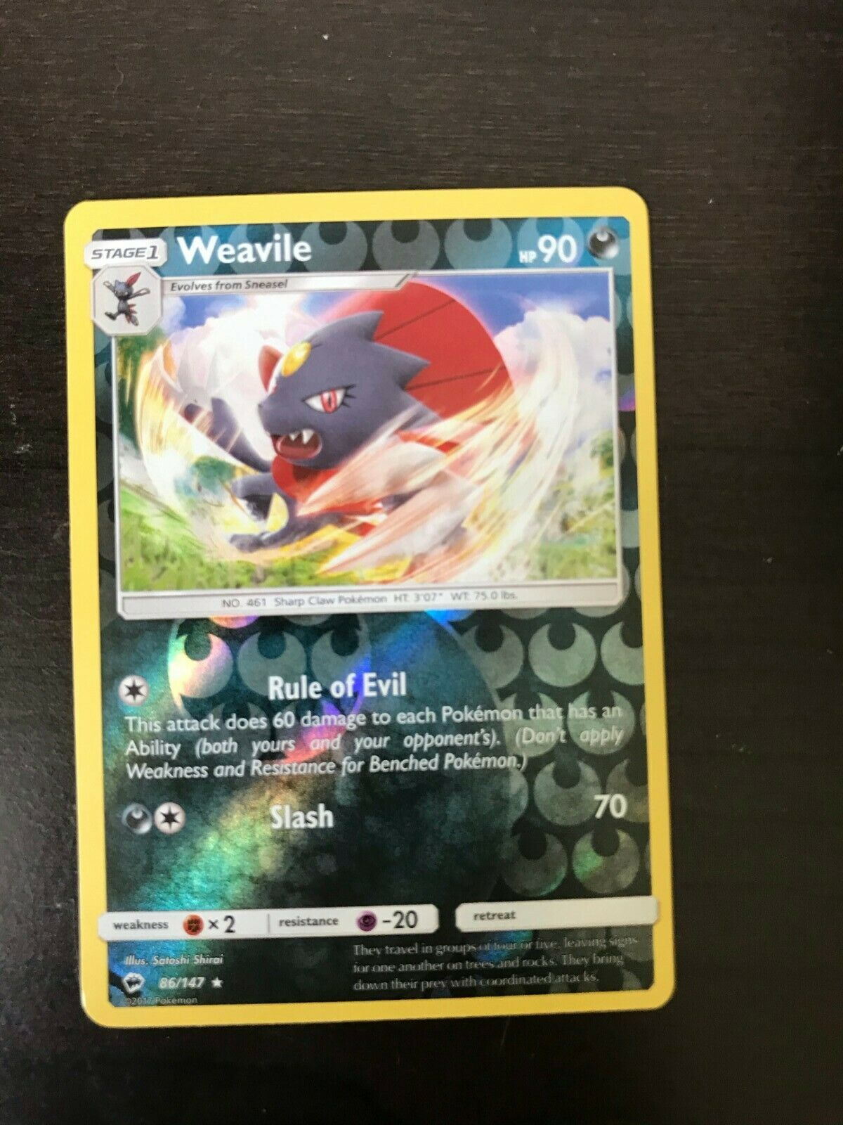 Weavile Pokemon Card 2017 86/147 Rare Reverse Holo Burning shadows
