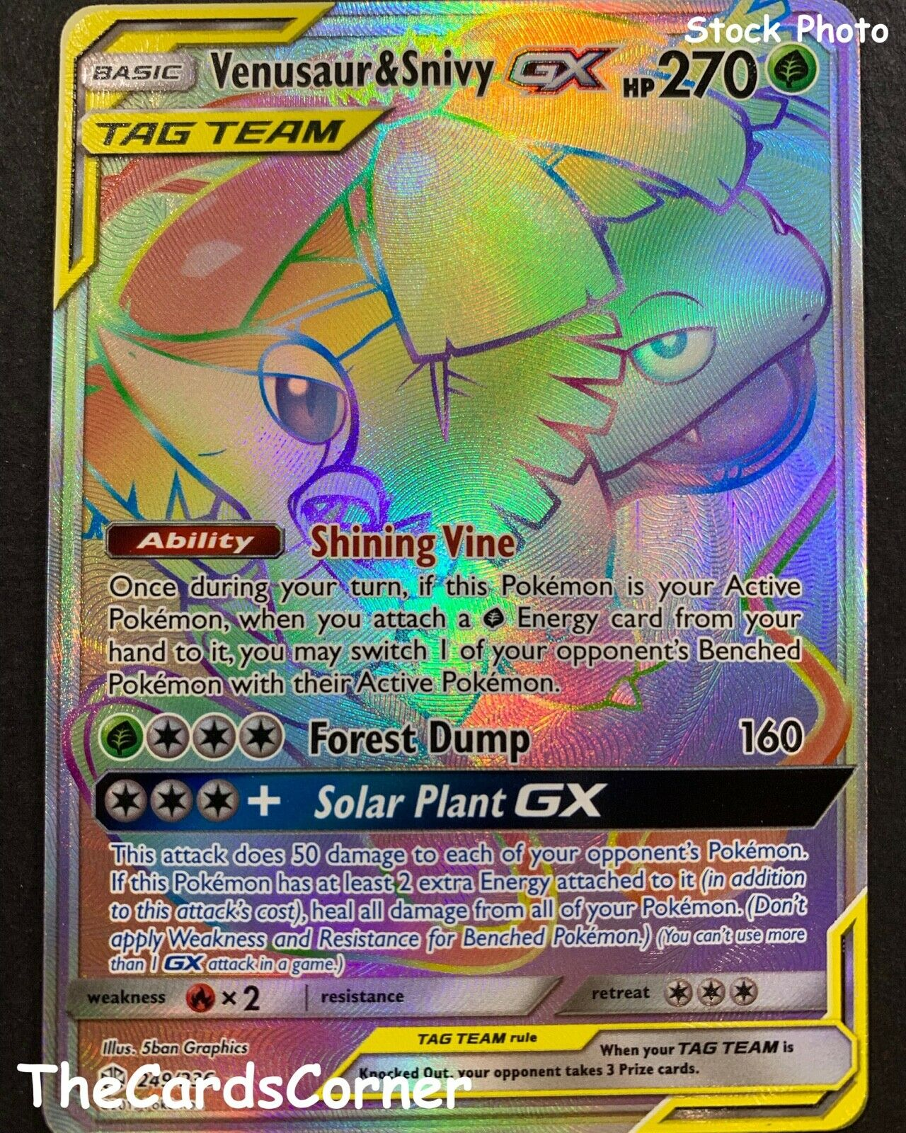 Venusaur /& Snivy Tag Team GX Secret Rare 249//236 Cosmic Eclipse