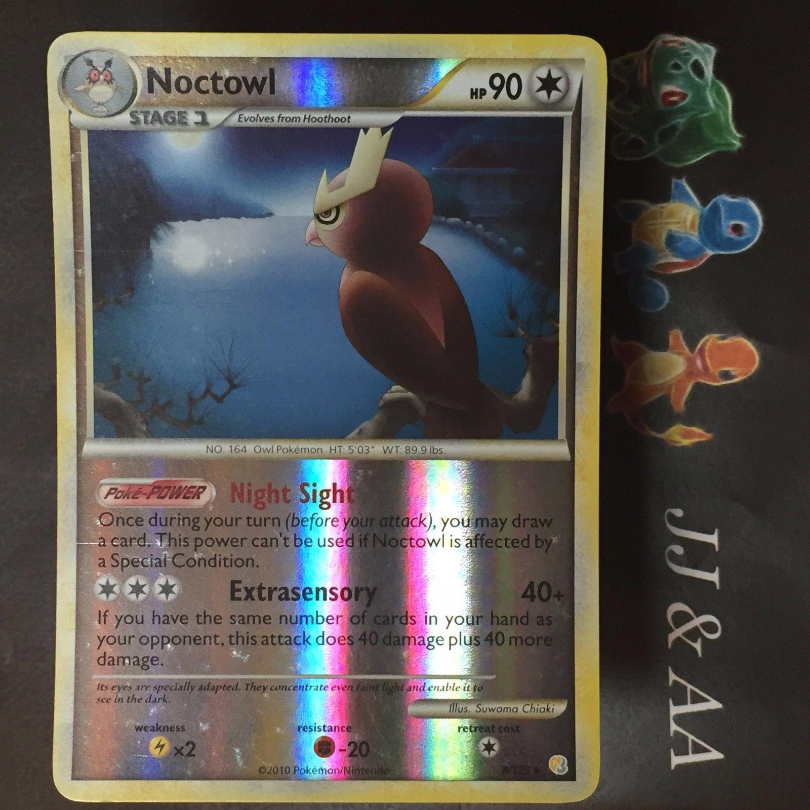 Pokemon! DE! Near Mint Noctuh HeartGold /& SoulSilver 8//123 Holo Rare